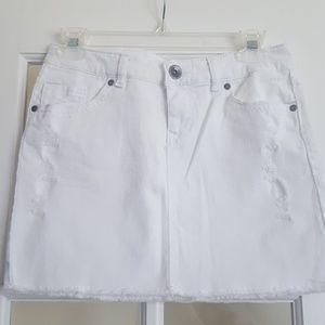 Mudd Crisp White Distressed Mini Jean Skirt